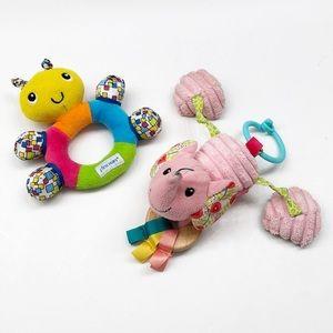 Infantino elephant & Tomy butterfly rattle set